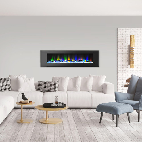 Cambridge 72 In. Wall-Mount Electric Fireplace in Black with Multi-Color Flames and Driftwood Log Display