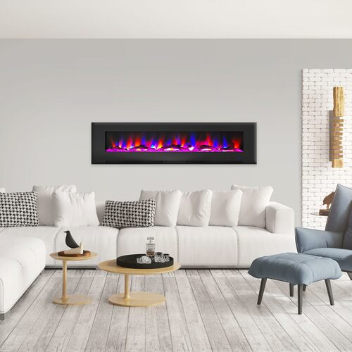 Cambridge 78 In. Wall-Mount Electric Fireplace in Black with Multi-Color Flames and Driftwood Log Display