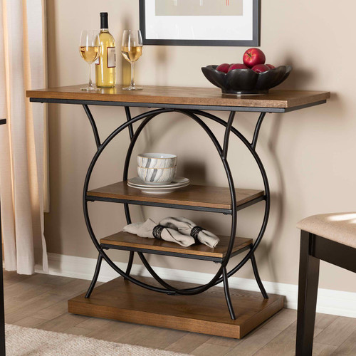 Baxton Studio Lavelle Vintage Rustic Industrial Style Walnut Brown Wood and Dark Bronze-Finished Metal Circular Console Table