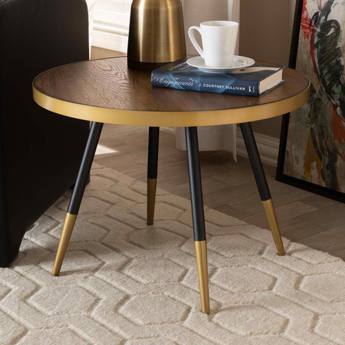 Baxton Studio Lauro Modern and Contemporary Round Walnut Wood and Metal Coffee Table with Two-Tone Black and Gold Legs