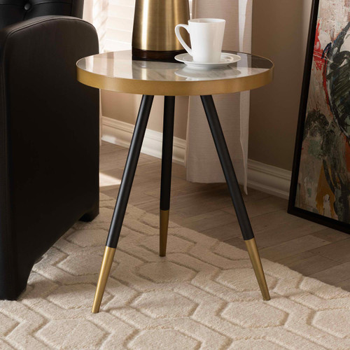 Baxton Studio Lauro Modern and Contemporary Round Glossy Marble and Metal End Table with Two-Tone Black and Gold Legs
