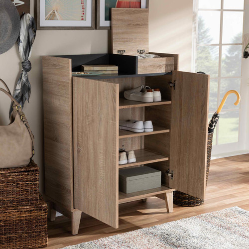 Baxton Studio Fella Mid-Century Modern Two-Tone Oak Brown and Dark Gray Entryway Shoe Cabinet with Lift-Top Storage Compartment