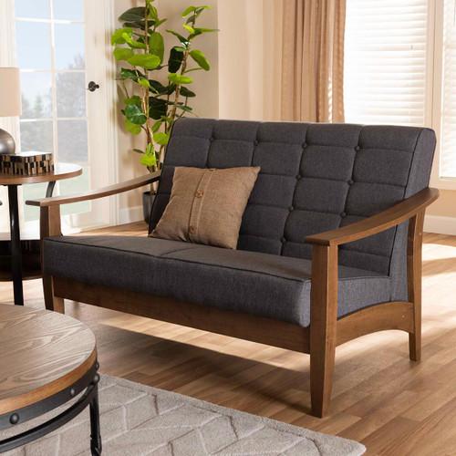 Baxton Studio Larsen Mid-Century Modern Gray Fabric Upholstered Walnut Wood Loveseat
