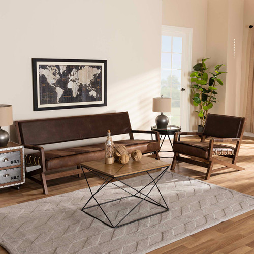 Baxton Studio Rovelyn Rustic Brown Faux Leather Upholstered Walnut Finished Wood 2-Piece Living Room Set