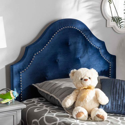 Baxton Studio Cora Modern and Contemporary Royal Blue Velvet Fabric Upholstered Twin Size Headboard