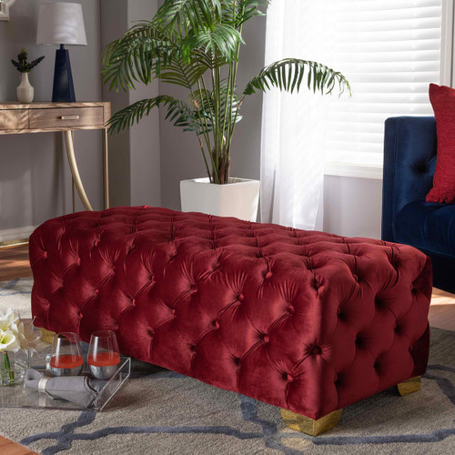 Baxton Studio Avara Glam and Luxe Burgundy Velvet Fabric Upholstered Gold Finished Button Tufted Bench Ottoman