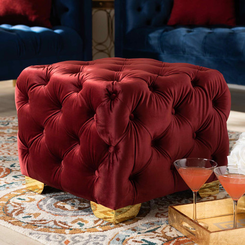 Baxton Studio Avara Glam and Luxe Burgundy Velvet Fabric Upholstered Gold Finished Button Tufted Ottoman