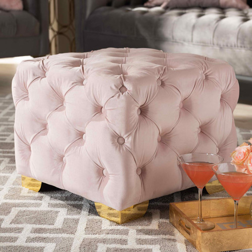 Baxton Studio Avara Glam and Luxe Light Pink Velvet Fabric Upholstered Gold Finished Button Tufted Ottoman