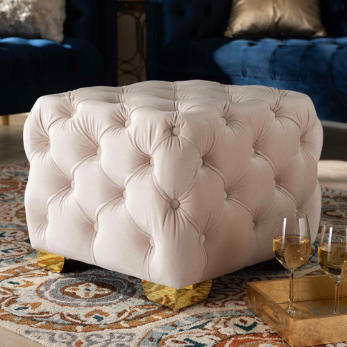 Baxton Studio Avara Glam and Luxe Light Beige Velvet Fabric Upholstered Gold Finished Button Tufted Ottoman