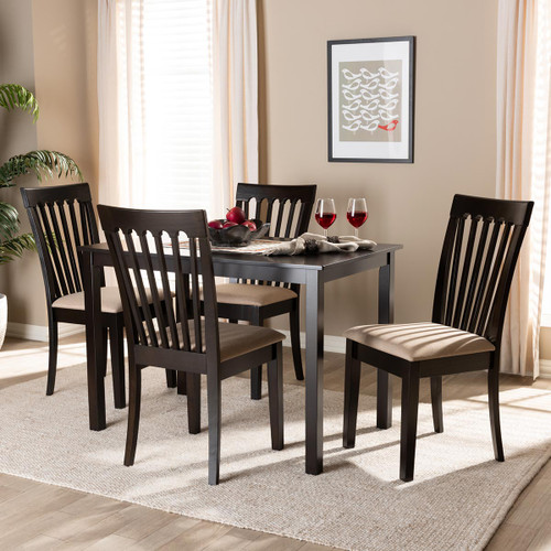 Baxton Studio Minette Modern and Contemporary Sand Fabric Upholstered Espresso Brown Finished Wood 5-Piece Dining Set