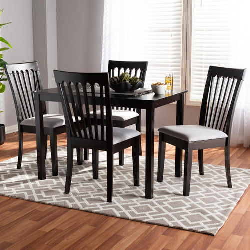 Baxton Studio Minette Modern and Contemporary Gray Fabric Upholstered Espresso Brown Finished Wood 5-Piece Dining Set