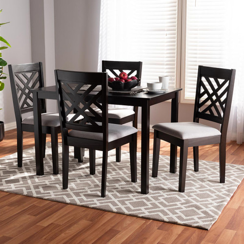 Baxton Studio Caron Modern and Contemporary Gray Fabric Upholstered Espresso Brown Finished Wood 5-Piece Dining Set