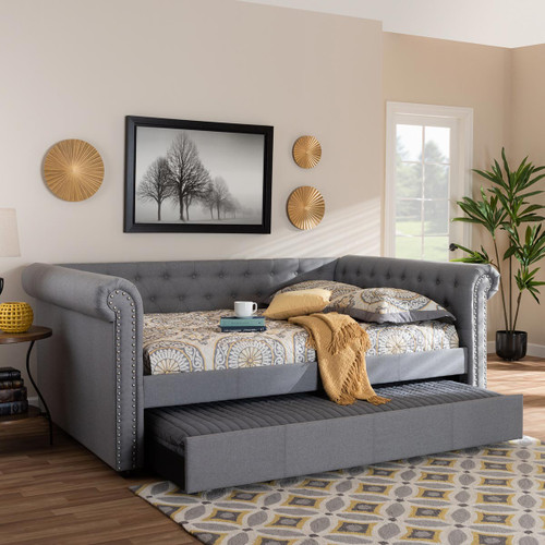 Baxton Studio Mabelle Modern and Contemporary Gray Fabric Upholstered Queen Size Daybed with Trundle