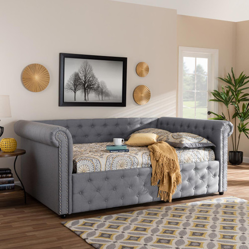 Baxton Studio Mabelle Modern and Contemporary Gray Fabric Upholstered Queen Size Daybed