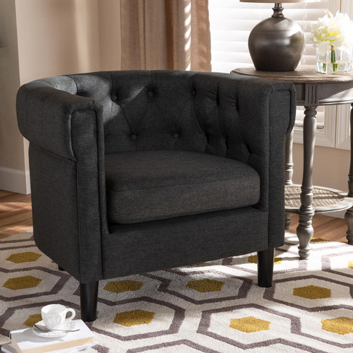 Baxton Studio Bisset Classic and Traditional Gray Fabric Upholstered Chesterfield Chair