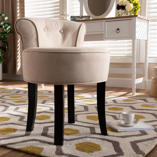 Baxton Studio Cerise Classic and Traditional Small Beige Fabric Upholstered Accent Chair