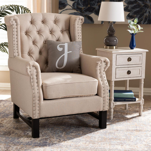 Baxton Studio Charrette Transitional Beige Fabric Upholstered Button Tufted Armchair