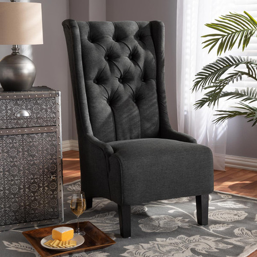 Baxton Studio Dorais Transitional Gray Fabric Upholstered Accent Chair