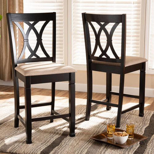 Baxton Studio Caron Modern and Contemporary Sand Fabric Upholstered Espresso Brown Finished Wood Counter Height Pub Chair Set of 2