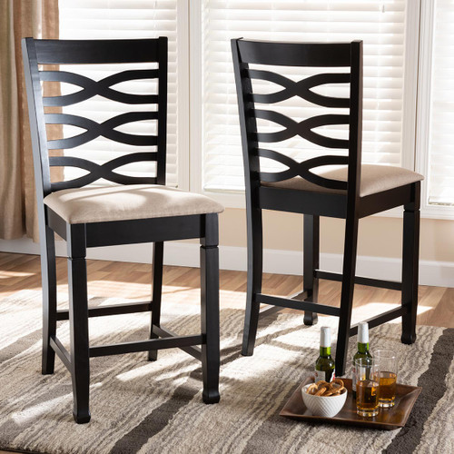 Baxton Studio Lanier Modern and Contemporary Sand Fabric Upholstered Espresso Brown Finished Wood Counter Height Pub Chair Set of 2