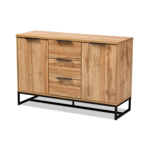 Baxton Studio Reid Modern and Contemporary Industrial Oak Finished Wood and Black Metal 3-Drawer Sideboard Buffet