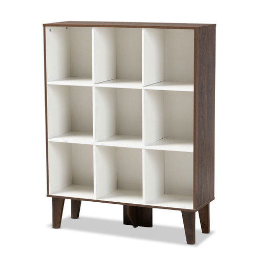 Baxton Studio Senja Modern and Contemporary Two-Tone White and Walnut Brown Finished Wood 9-Shelf Bookcase