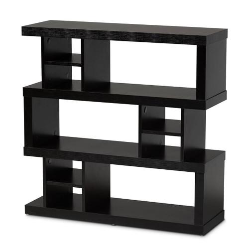 Baxton Studio Dora Modern and Contemporary Brown Finished Wood 3-Tier Geometric Bookshelf