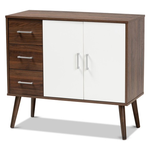 Baxton Studio Leena Mid-Century Modern Two-Tone White and Walnut Brown Finished Wood 3-Drawer Sideboard Buffet