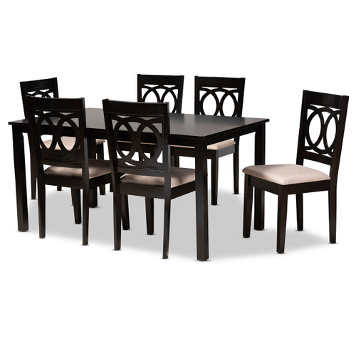Baxton Studio Lenoir Modern and Contemporary Sand Fabric Upholstered Espresso Brown Finished Wood 7-Piece Dining Set