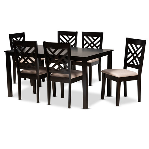 Baxton Studio Caron Modern and Contemporary Sand Fabric Upholstered Espresso Brown Finished Wood 7-Piece Dining Set