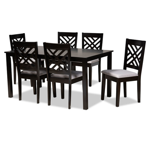 Baxton Studio Caron Modern and Contemporary Grey Fabric Upholstered Espresso Brown Finished Wood 7-Piece Dining Set