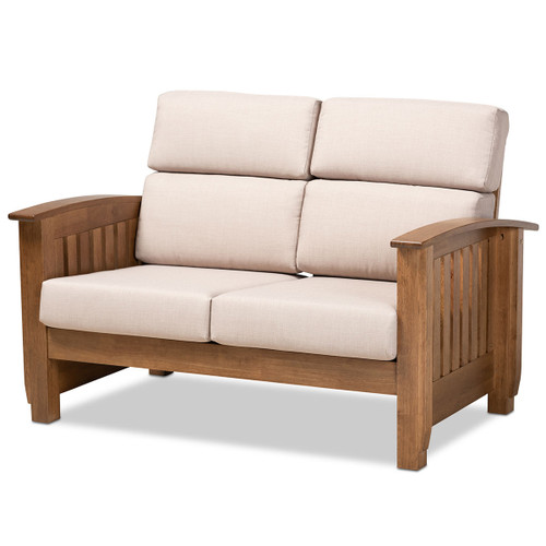 Baxton Studio Charlotte Modern Classic Mission Style Taupe Fabric Upholstered Walnut Brown Finished Wood 2-Seater Loveseat
