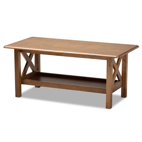 Baxton Studio Reese Traditional Transitional Walnut Brown Finished Rectangular Wood Coffee Table
