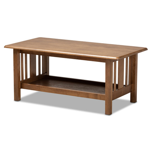 Baxton Studio Rylie Traditional Transitional Mission Style Walnut Brown Finished Rectangular Wood Coffee Table