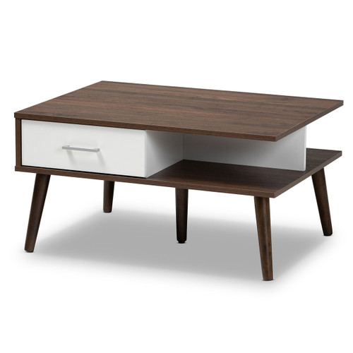 Baxton Studio Merlin Mid-Century Modern Two-Tone Walnut and White Finished 2-Drawer Wood Coffee Table
