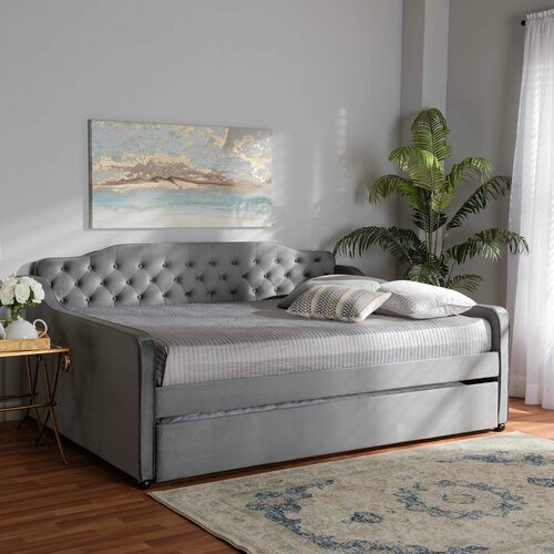 Baxton Studio Freda Transitional and Contemporary Grey Velvet Fabric Upholstered and Button Tufted Full Size Daybed with Trundle