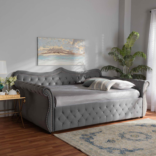 Baxton Studio Abbie Traditional and Transitional Grey Velvet Fabric Upholstered and Crystal Tufted Queen Size Daybed