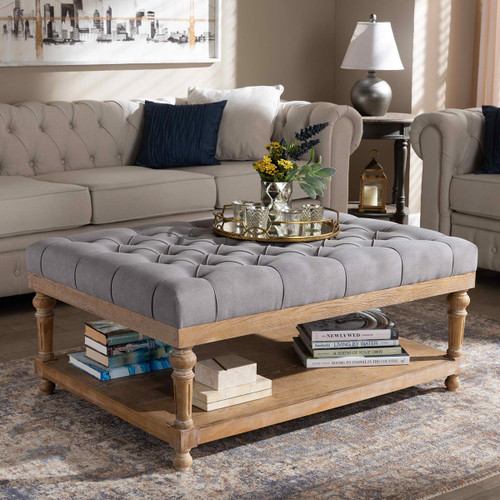 Baxton Studio Lindsey Modern and Rustic Grey Linen Fabric Upholstered and Greywashed Wood Cocktail Ottoman