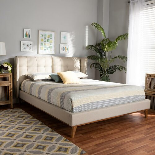 Baxton Studio Gretchen Modern and Contemporary Light Beige Fabric Upholstered and Walnut Brown Finished Wood King Size Platform Wingback Bed