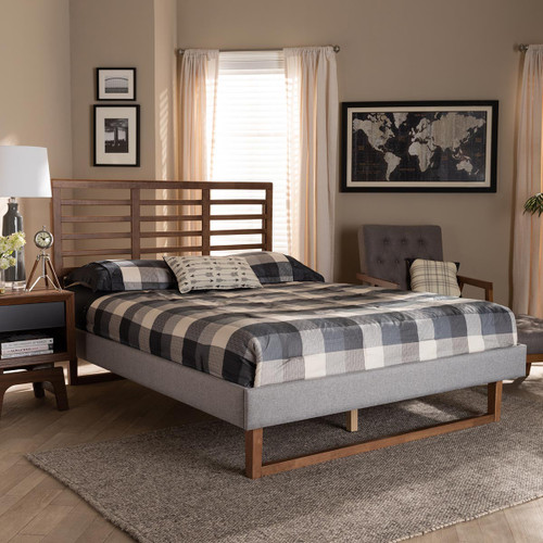 Baxton Studio Luciana Modern and Contemporary Light Grey Fabric Upholstered and Ash Walnut Brown Finished Wood Queen Size Platform Bed