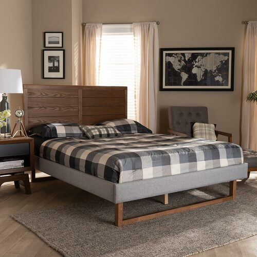 Baxton Studio Claudia Rustic Modern Light Grey Fabric Upholstered and Walnut Brown Finished Wood Queen Size Platform Bed