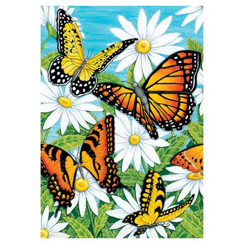 Spring Garden Flag - Monarchs & Daisies