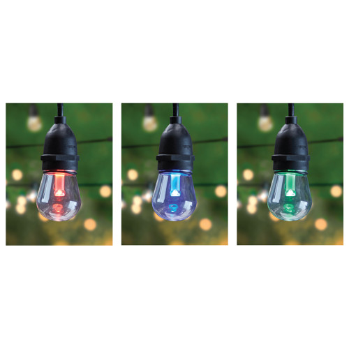 LED - 30ft. - Weather Proof- Color Changing String Lights - Remote Control - Dimmable - 15 Sockets - 2ft. Apart - 17 Bulbs Included - Feit Electric
