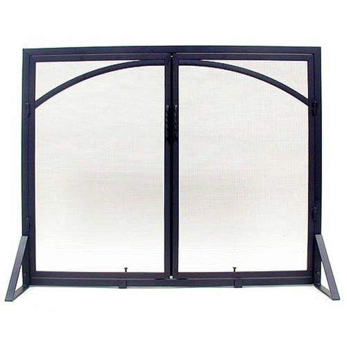 Square Fireplace Screen with Arched Door - Black