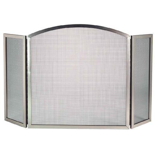 3 Fold Satin Nickel Fireplace Screen