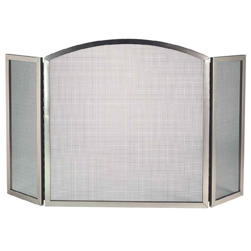 3 Fold Satin Nickel Fireplace Screen