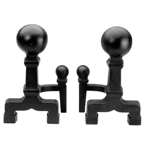 Large Ball Andirons - Black
