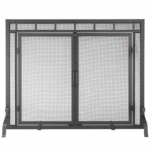 Single Panel Fireplace Screen with Doors - 44'' W x 33'' H