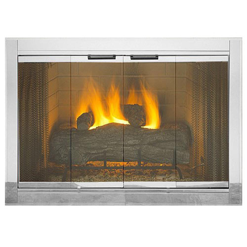 Polished Chrome Premium Fireview Stock Masonry Fireplace Door
