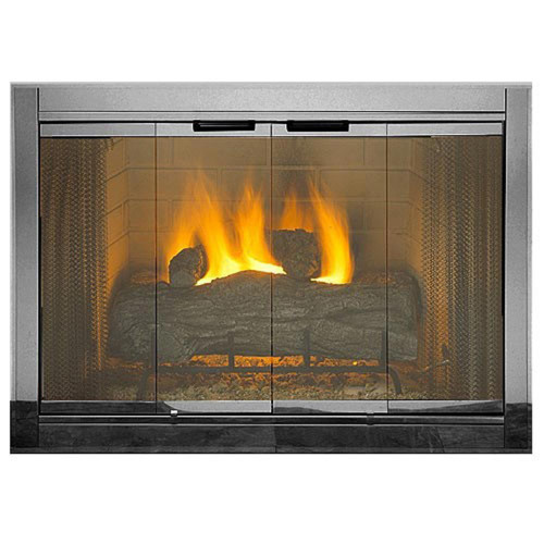 Smoked Chrome Premium Fireview Stock Masonry Fireplace Door